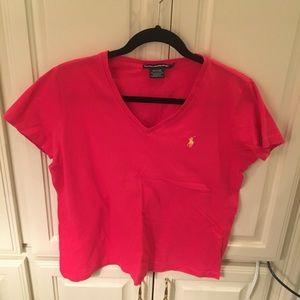 Ralph Lauren Light Red Logo V Neck Logo T Shirt L